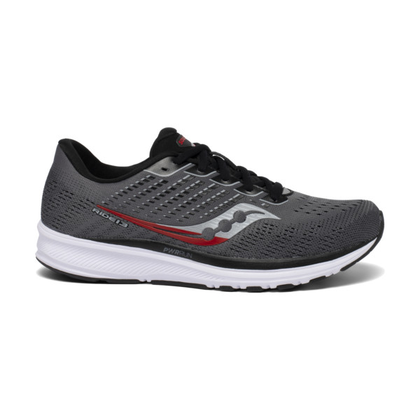 Saucony Ride 13 Homme Charcoal / Red